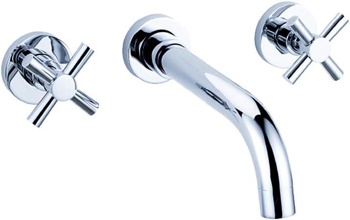 jruia M/élangeur de lavabo 3/trous de montage mural encastr/é de salle de bains robinet 2/Levier Mitigeur lavabo mural Robinet de lavabo en laiton chrom/é saillie 180/cm