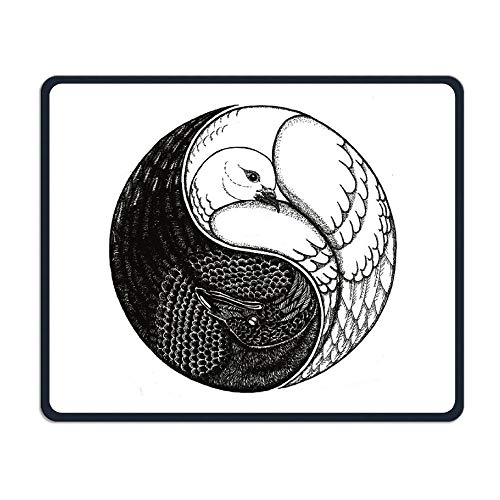 Yin Yang Swan Office Rectangle Non-Slip Rubber Mouse Pad Cool Gaming Mouse Pad for Laptop Displays Tablet Keyboard