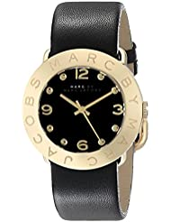 Marc by Marc Jacobs Womens MBM1154 Amy Gold-Tone Stainless Steel Watch with Black Leather Band