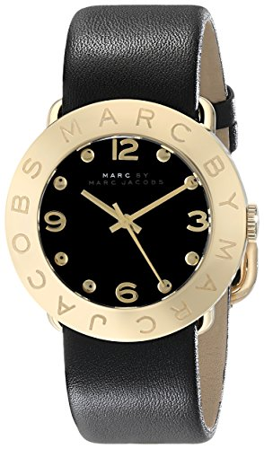 Marc by Marc Jacobs Women's MBM1154 Amy Gold-Tone Stainless Steel Watch with Black Leather - Jacobs Marc Black Watches Women