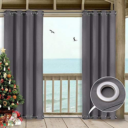 NICETOWN 108 Outdoor Curtain for Patio - Versatile Windproof Microfiber Energy Saving Thermal Insulated Top and Bottom Grommets Blackout Outdoor Curtain, Wind-Proof (1 Piece,52 Inch by 108 Inch, Grey) (Cabana Beach Lounge)