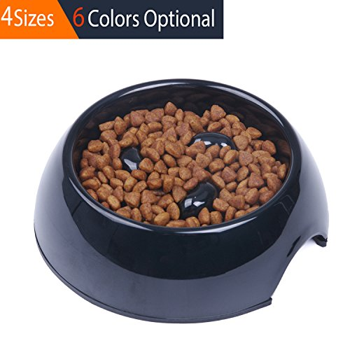 Melamine Cat Bowl (SUPER DESIGN Heavy Duty Melamine Non-skid Slow Feed Pet Bowl For Dogs and Cats S Black)