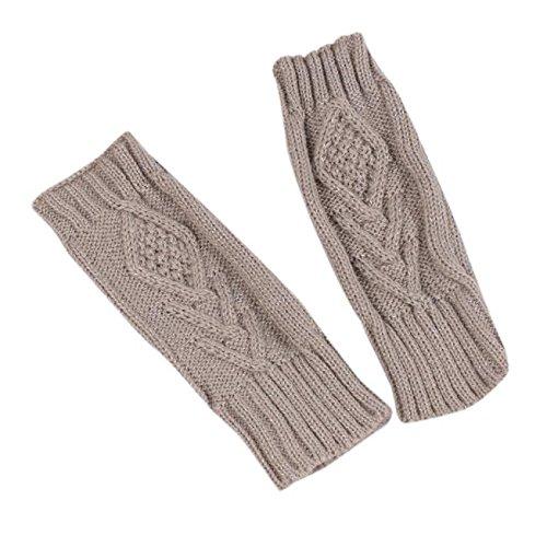 PASATO Knitted Arm Fingerless Winter Gloves Soft Warm Mitten Half Fingerless Thumb Hole Warm Gloves Mittens for Women(Gray,Free Size)