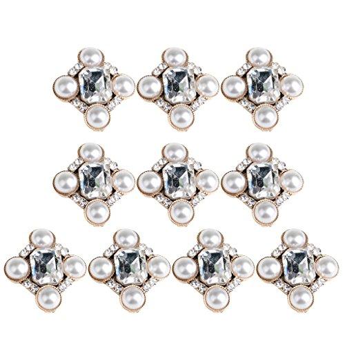 Bling Metal Fashion Cluster Crystal Rhinestone Jewel Pearl Button Flatback Embellishment DIY Wedding Craft Making Card ()