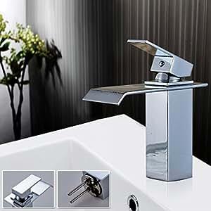 Auralum monomando de fregadero grifo lavabo ca o cascada grifo monomando de lavabo nica palanca - Grifo lavabo cascada ...