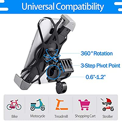 IPOW Bike Phone Mount Holder with Retractable Clamp Bicycle Motorcycle Phone Mount Holder Strong Silicone Rubber Band Universal Phone Holder for Bike Fit 0.6