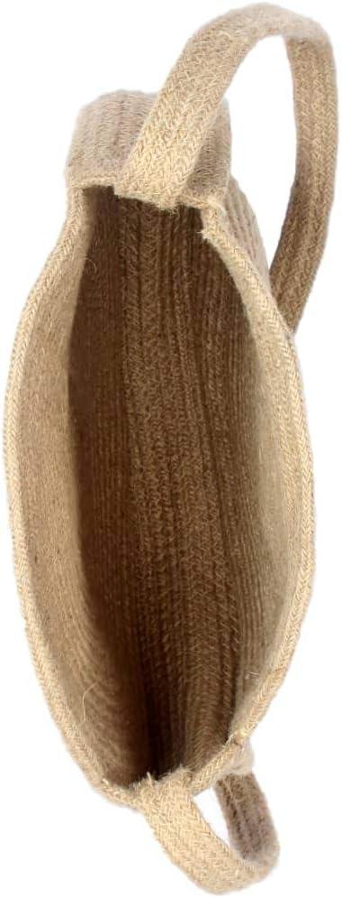 Festnight Bolso Redondo Hecho a Mano de Yute Natural con una Correa de Hombro 33 x 7,55 x 33 cm