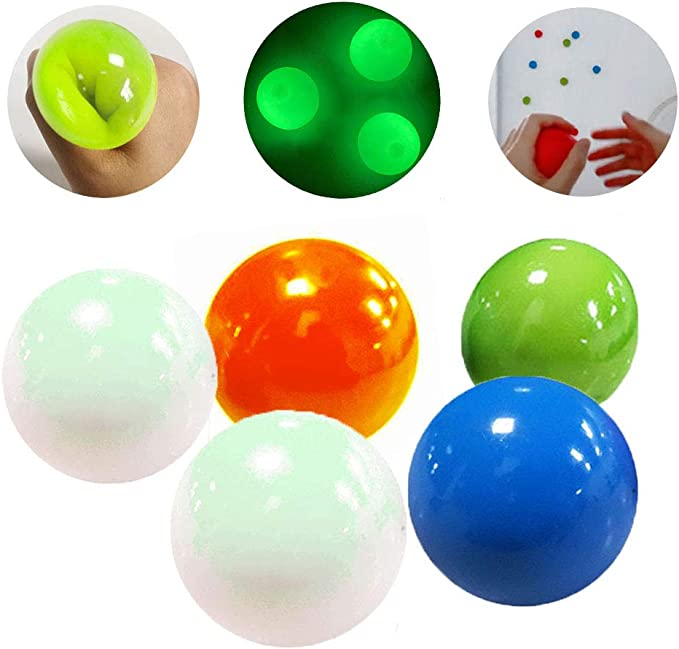 Squishy Ball Glow Stress Relief Toys for Kids and Adults 4 PCS Luminescent Stress Balls Ceiling Sticky Balls Tear-Resistant Sticky Wall Balls Ceiling Balls Fun Toy for Anxiety and More