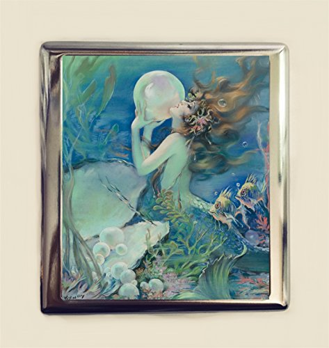 (Mermaid Pearl Cigarette Case Business Card ID Holder Wallet Art Deco Nouveau)