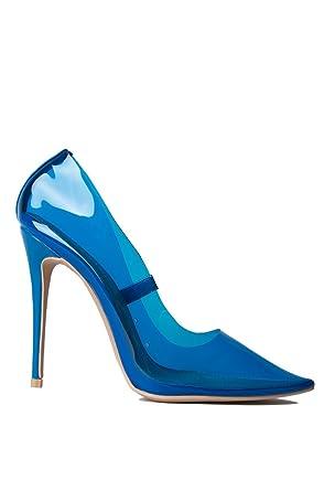e4fcca4a10c AZALEA WANG Color Pop PVC See Through Clear Kim K Sexy Stiletto Heels Pumps -BLUE 6