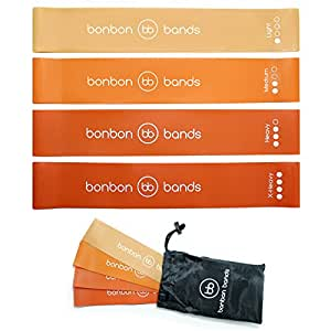 Exercise Bands Resistance Bands | Premium Bonbon Bands Set of 4 with Carry Bag | High Quality Glute Leg Strength Training Rehabilitation Mobility Yoga Pilates Bands