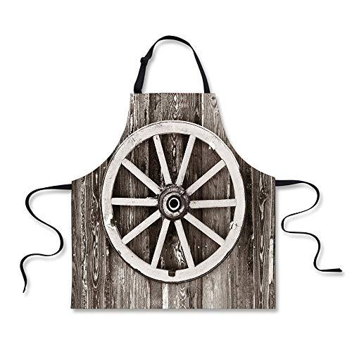 iPrint Cooking Apron,Barn Wood Wagon Wheel,Retro Wheel on Ti