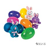 Bunny Filled Easter Eggs 4 Inch  - 12 Pack