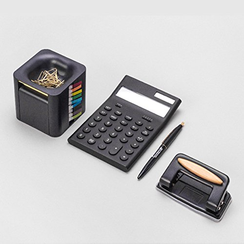 All-in-One Pop-up Note & Roll Sticky Note Dispenser Assorted Index Flag Dispenser Paper Clip Tub Desk Organizer (Black) by Gifti (Image #7)