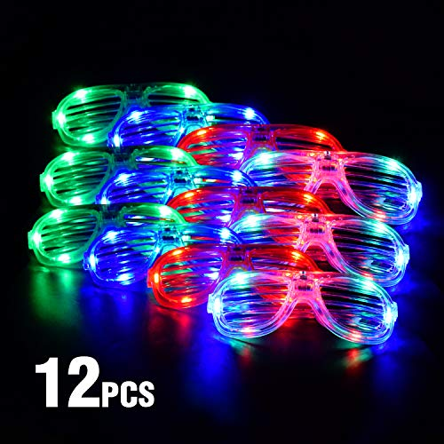 Senhui Flashing LED Glow Neon Glasses Light Up with 4 Colors Plastic for Kids Men Women Holiday Birthday Rave Party Favors Gift