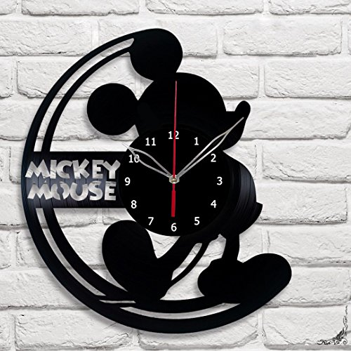 Mickey Mouse Vinyl Record Wall Clock Fan Art Handmade Decor Unique Decorative Vinyl Clock 12
