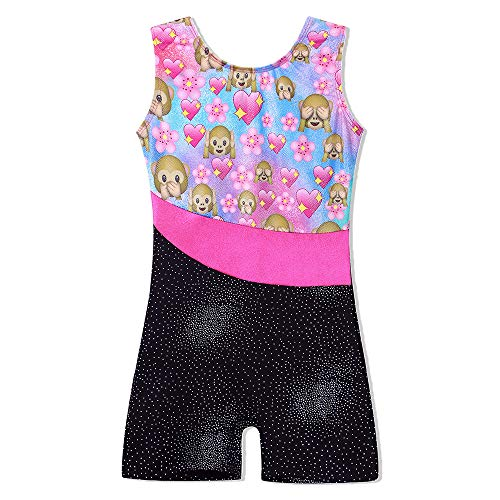 TFJH E One-Piece Bling Gymnastics Biketard for Little Girl Dancing Tank Outfits Monkey (Biketard Dress)