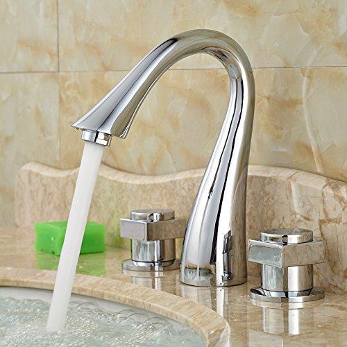5151buyworld Top Qualität Wasserhahn Dual Griff Wasserfall Auslauf Badezimmer Vanity Wasserhahn Chrom Farbe breitgefächert Wasserfall spoutfor Badezimmer Küche Home Gaden (begriffsklärung)