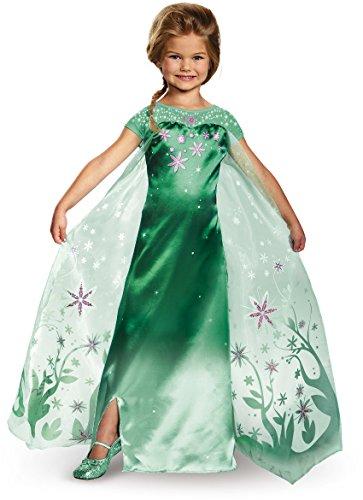 Disney Deluxe Elsa Costumes (Elsa Frozen Fever Deluxe Costume, One Color, 3T-4T)