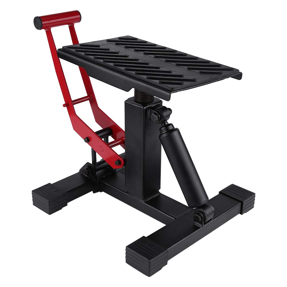 Motorcycle Lift Stand, 330 LB Adjustable Steel Lift Jack Heavy Duty Lift Stand Repairing Table for Adventure Touring Motorcycle Dirt Bike, Red/Black