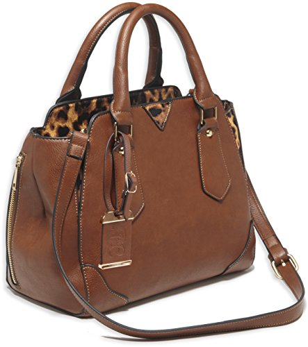 Bulldog Cases Satchel Style Purse with Holster, Chestnut with Leopard Trim, -