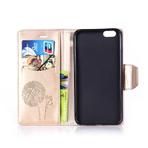 Für Apple iPhone 6 Plus (5,5 Zoll) Tasche ZeWoo® Ledertasche Strass Hülle PU Leder Schutzhülle Glitzer Case Cover - L072 / Löwenzahn (Golden)