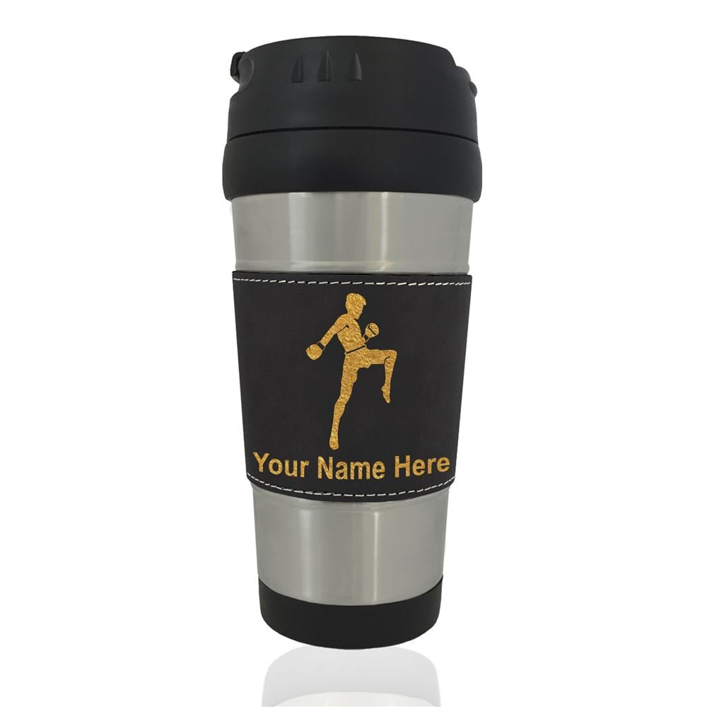 Travel Mug - Muay Thai Fighter - Personalized Engraving Included (Black)