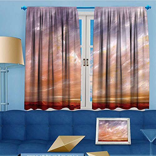 (Mikihome Alta Pine Forest Design Collection, Storm Sky High Sierra Vista Deserts Panorama Art Orange Lilac,Living Kids Girls Room Curtain, 55