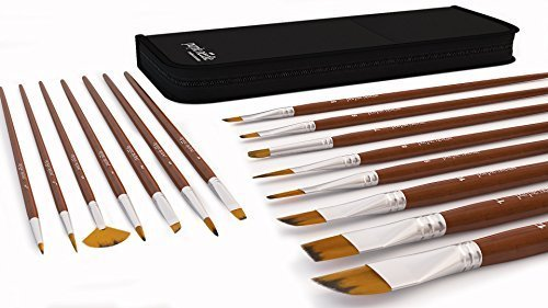 Paint Brush Set of 15 for Acrylic, Oil, Watercolor, Gouache, Face Painting, Fine Detail Painting Brushes, Long Lasting, Handmade, Durable by Purple Needle