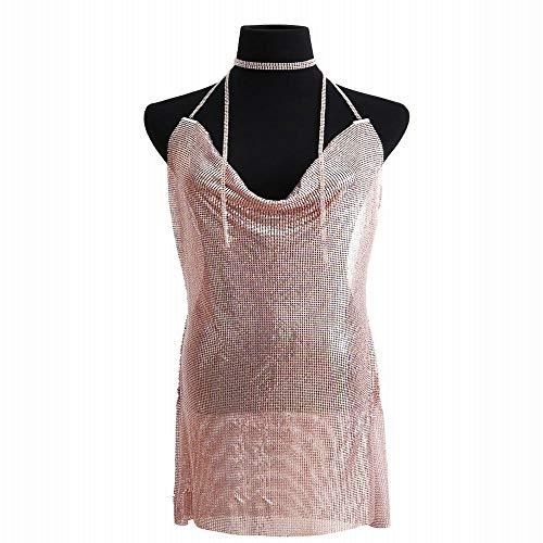 Pink In Maniche Tessuto Rose color Abito Con Da Chengduaijoer Lunghe E Sexy Red Nightclub Donna Corte IwaApZq