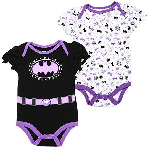 Batgirl DC Comics Baby Girls Creeper 2-Pack, Purple (0/3M)