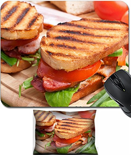 Back Support Blt - MSD Mouse Wrist Rest and Small Mousepad Set, 2pc Wrist Support design: 31593491 Bacon lettuce and tomato BLT sandwiches with fresh ingredients at back