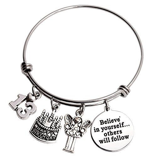 13th Birthday Gifts For Girls Gifts for Her Stainless Steel Expandable Bangle (13th-Believed)