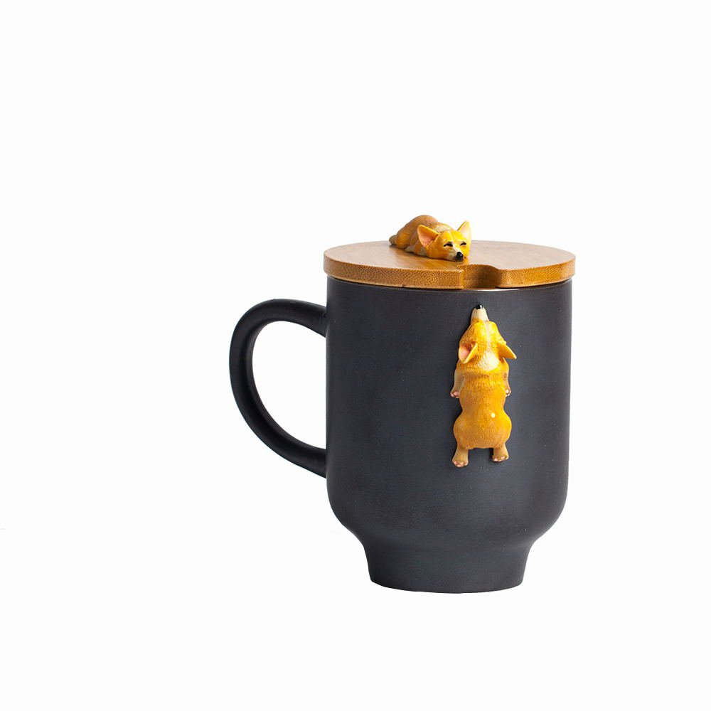 Corgi Mug with Original Bamboo Lid,Handcrafted Cute Corgi Gift Coffee Mug Tea Cup Perfect Novelty Gift-(12oz,350ML)(Black, Corgi)