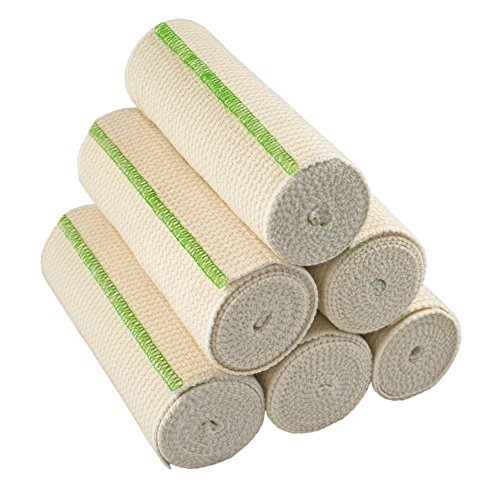 GT Cotton Elastic Bandage with Hook and Loop Closure, 6 Width - 6 Pack