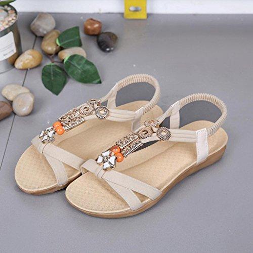 Sandalen Sandalen Verrückte Beige Sandalen Freizeitschuhe Komfort Elastikband Förderung Damen Schuhe SANFASHION xqpgnSqawz