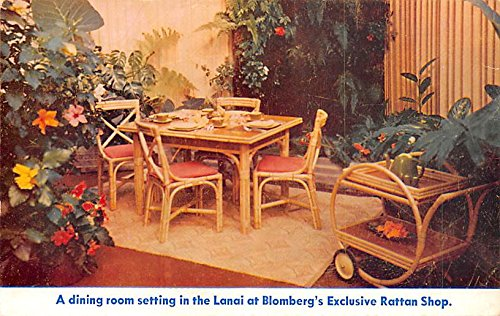 Furniture Advertising Old Vintage Antique Post Card Lanai at Blomber's Exclusive Rattan Shop Writing on back