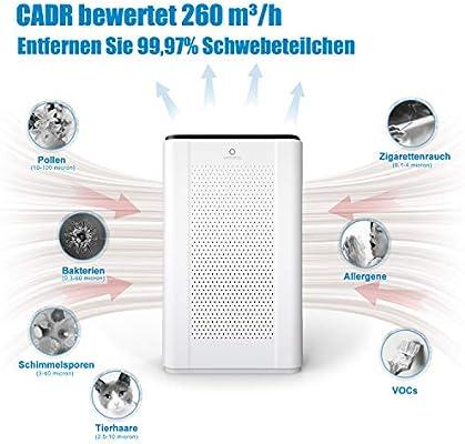 Purificador de aire Airthereal Pure Morning APH260 con filtro combinado 7 en 1 HEPA para alergias y habitaciones de fumadores, modo automático de sueño, luz UV-C, 99,97% de potencia de filtro, 260