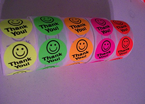 Thank You Mailing Sticker Label Smile Smiley Face 2500 Pcs. 5 rolls of 500 Rainbow Pack 5 colors 1.50