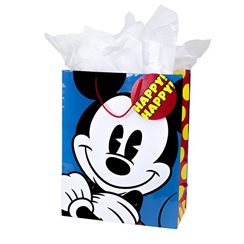 Hallmark Extra Large Gift Bag with Tissue Paper for Birthdays, Kids Parties or Any Occasion (Mickey Mouse)