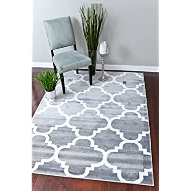 Persian-Rugs 4518 Gray 5x7 Moroccan Trellis 5'2 x 7'2 Area Rug Carpet, Large, Gray