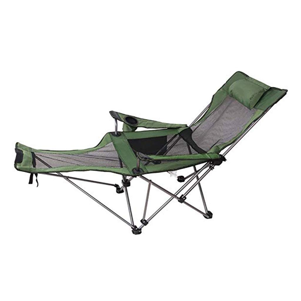 YYTLTY Camping Chairs Outdoor Folding Lounge Chairs, Portable with Side Pocket & Side Pouch for Fishing, Beach, Hiking,Foundation Load 100kg (Color : Green) by YYTLTY