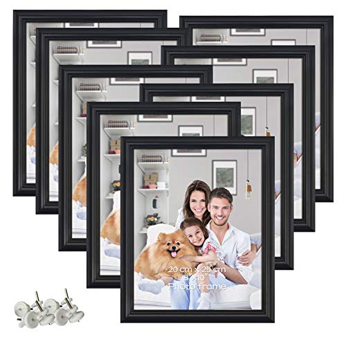 PETAFLOP 8 Pack 8x10 Picture Frames Black 8 by 10 Decorative Poster Frame Wall and Desktop -