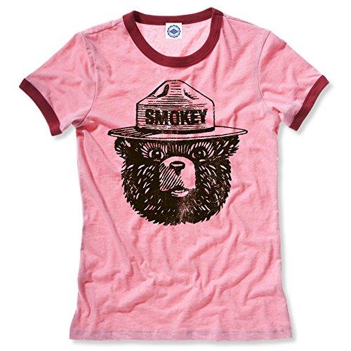 (Hank Player U.S.A. Official Smokey Bear Women's Ringer T-Shirt (XS, Heather Red))