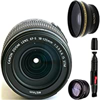 Canon 18-135mm IS STM Lens (WHITE BOX) + High Definition Wide Angle Auxiliary Lens + High Definition Telephoto Auxiliary Lens + Deluxe Lens Cleaning Pen