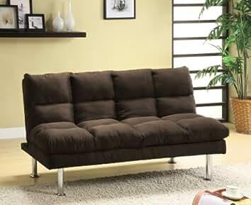 furniture of america michel modern microfiber youth futon espresso - Futon Living Room Set