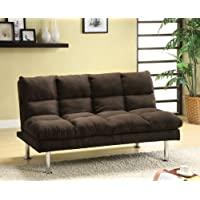 Furniture of America Michel Modern Microfiber Youth Futon, Espresso