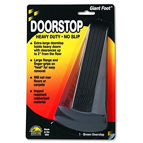 Master Caster 00964 Giant Foot Doorstop, No-Slip Rubber Wedge, 3-1/2w x 6-3/4d x 2h, Brown (Master Caster Door Door Stop)