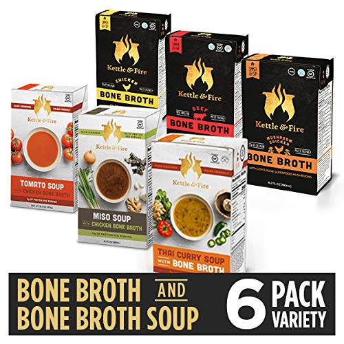 Bone Broth Soup Variety Pack, Mushroom Chicken, Beef, Chicken, Thai, Tomato, and Miso by Kettle and Fire, Gluten Free, with Collagen, Protein, 16.2 fl oz (Pack of 6)