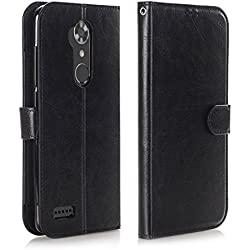 ZTE ZMAX Pro Case, ZTE ZMAX Pro Wallet Case, ZTE Carry Z981 Case, Alkax Slim Card Holder with Kickstand Hybrid Shockproof Phone Case Leather Protection Flip Cover For ZTE ZMAX Pro Z981 +Stylus (Black)